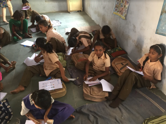 Previously, girls studied on the floor with mats